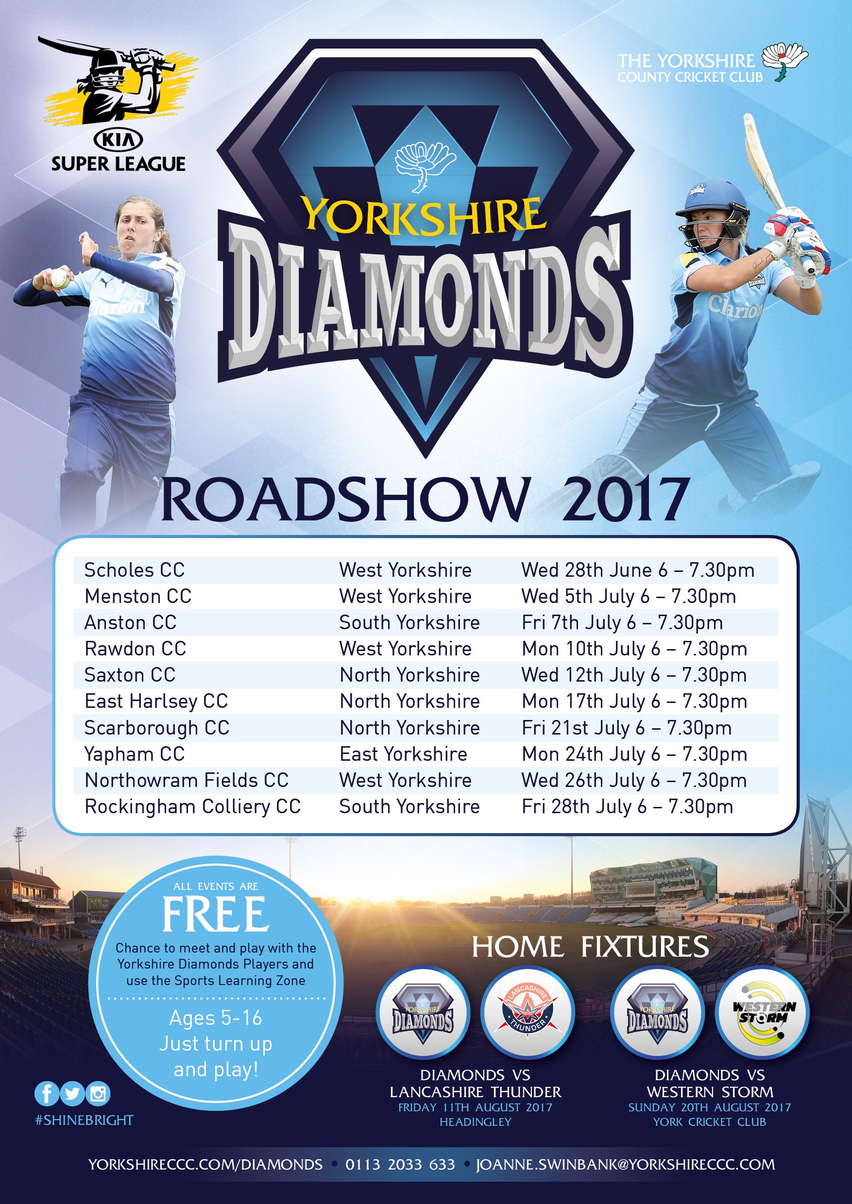 26th July Yorkshire Diamonds Roadshow